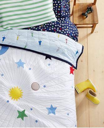 The boys' solar system themed bedding