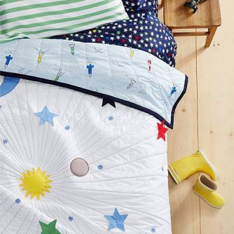 The boys' solar system themed bedding