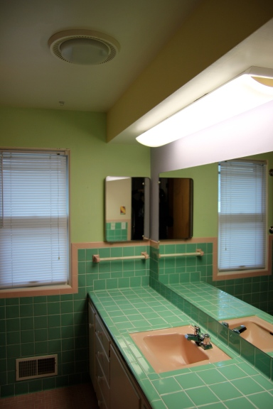 The bathroom is only getting new paint for now, so that tile will be hanging around for quite awhile